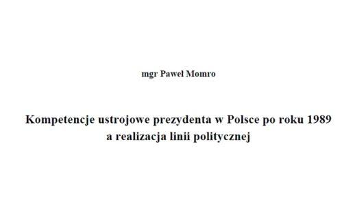 kompetencje ustrojowe prezydenta w polsce - okładka rozprawy
